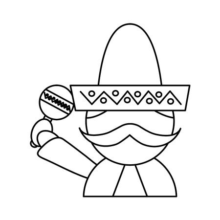 man with sombrero holding maraca mexico culture icon image vector illustration design  black line