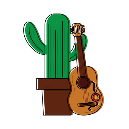 cactus with guitar mexico culture icon image vector illustration design