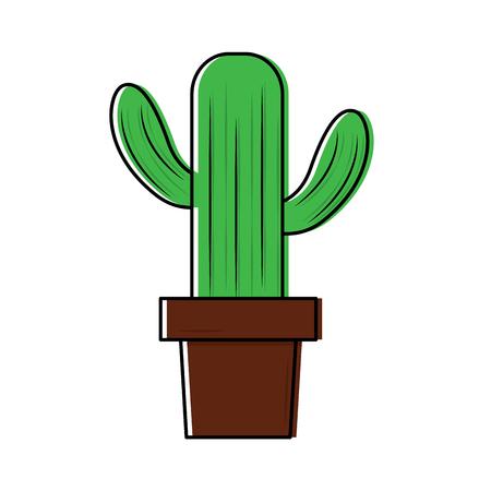 cactus in pot icon image vector illustration design