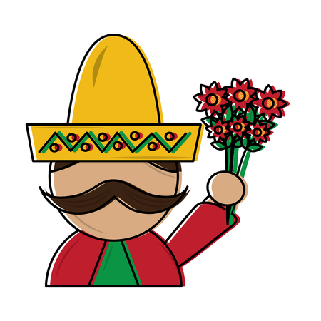 man with sombrero holding flowers mexico culture icon image vector illustration design