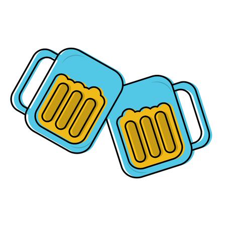 グラスでビール乾杯アイコン画像ベクトル イラスト デザイン  イラスト・ベクター素材