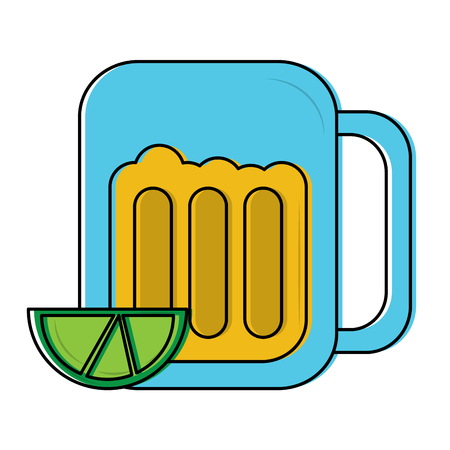 beer in glass with lime wedge icon image vector illustration design  Illustration