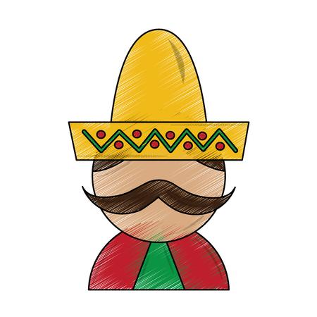 man with sombrero mexico culture icon image vector illustration design