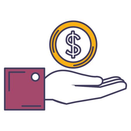 hand with coin money vector illustration design Çizim