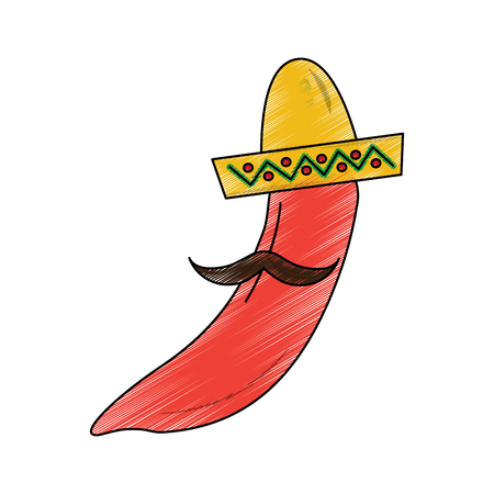 hot mexican chili pepper with hat and mustache vector illustration