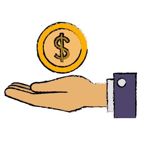 hand with coin money vector illustration design Ilustrace