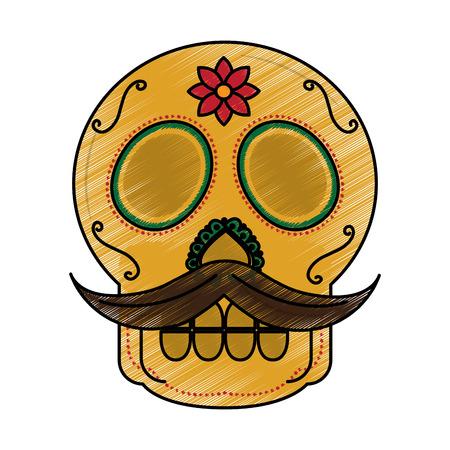 Crânio com bigode, o dia da morte mexicana tradicional vector illustration Foto de archivo - 90343767