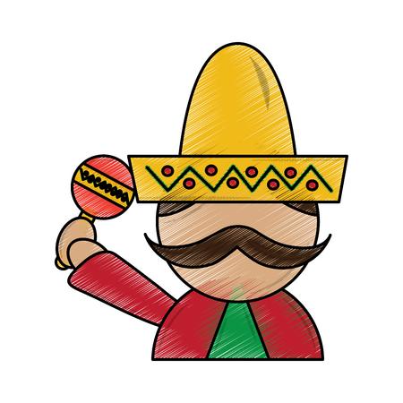 マラカスと帽子の伝統衣装ベクトル図とメキシコ人男性