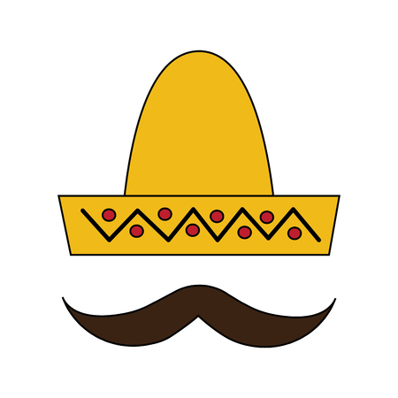 mexican hat and mustache carnival costume vector illustration
