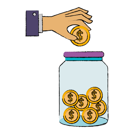 hand saver with glass jar and coins money vector illustration design Stock fotó - 90343791