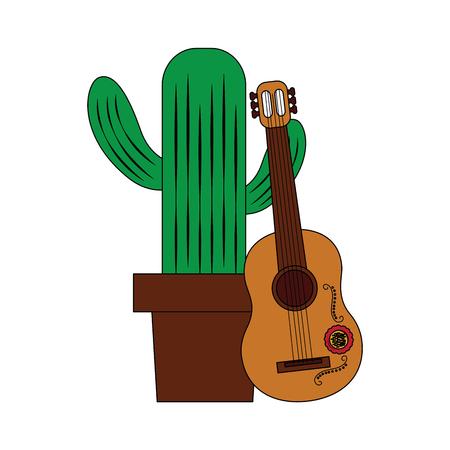 ギターの祭典メキシコ ベクトル イラスト漫画幸せな鉢植えサボテン  イラスト・ベクター素材