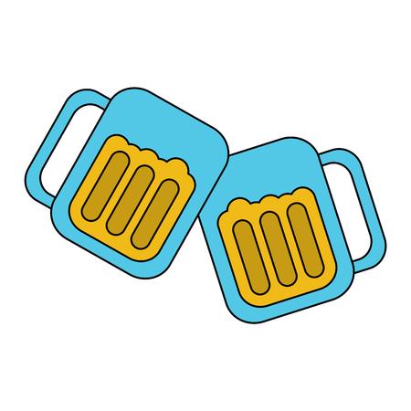 two glass beer drink beverage liquor alcohol celebration vector illustration