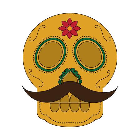 Cranio con i baffi il giorno della morte messicana tradizionale illustrazione vettoriale Archivio Fotografico - 90340932