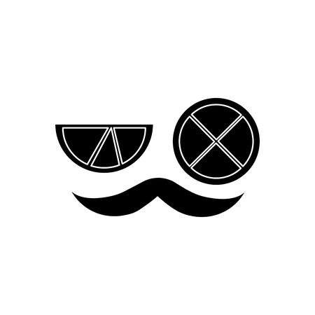 mustache and two slice lime mexican symbol vector illustration Çizim