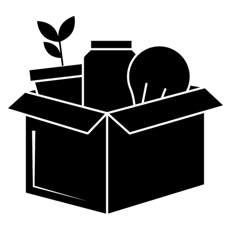 carton box with bulb and plant vector illustration design