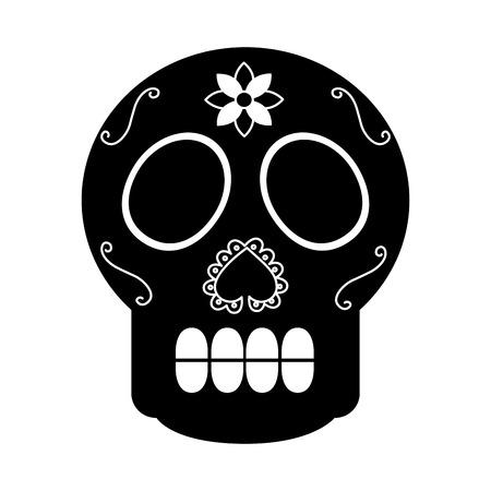 schedel de dag van de dood Mexicaanse traditionele cultuur vectorillustratie Stock Illustratie