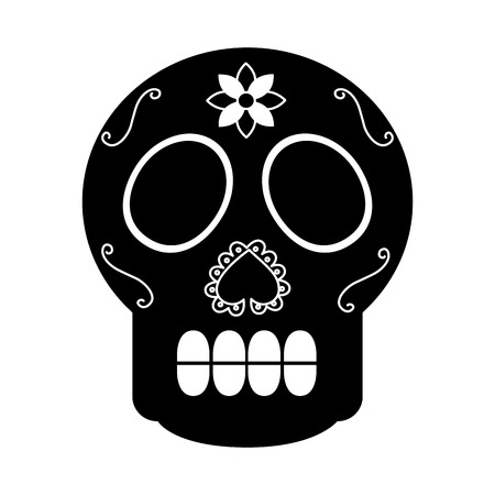 skull the day of the death mexican traditional culture vector illustration Illustration