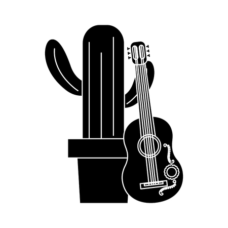 ギターのお祝いメキシコベクトルイラストと漫画ハッピーポットサボテン
