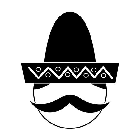 帽子と髭の縦ベクトル図でメキシコ人男性の顔