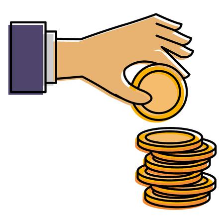 동전 돈 벡터 일러스트 디자인 손으로 일러스트