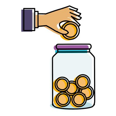 hand saver with glass jar and coins money vector illustration design Illusztráció