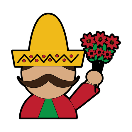 man with sombrero holding flowers mexico culture icon image vector illustration design Illustration