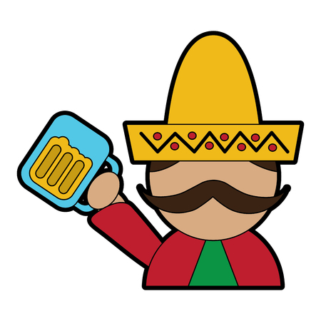 man with sombrero holding beer mexico culture icon image vector illustration design