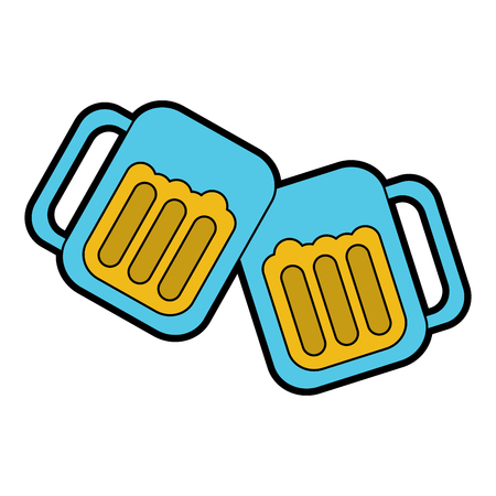 beer in glasses toast icon image vector illustration design