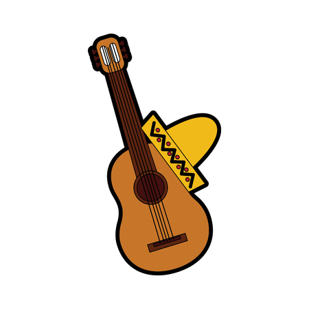 guitar with sombrero mexico culture icon image vector illustration design