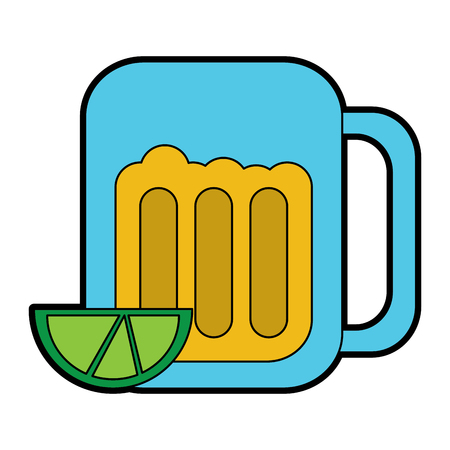 beer in glass with lime wedge icon image vector illustration design  Иллюстрация