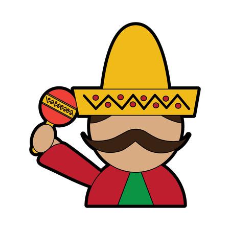 man with sombrero holding maraca mexico culture icon image vector illustration design  Illustration