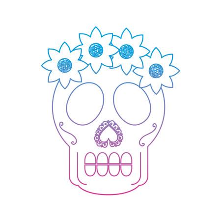 catrina sugar skull mexico culture icon image vector illustration design  blue purple ombre line Illustration