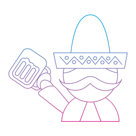 man with sombrero holding beer mexico culture icon image vector illustration design  blue purple ombre line Illustration
