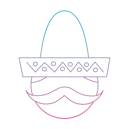 man with sombrero mexico culture icon image vector illustration design  blue purple ombre line