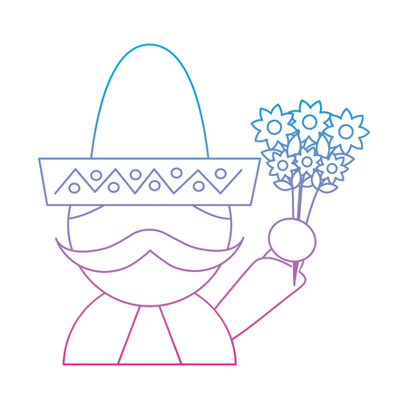 man with sombrero holding flowers mexico culture icon image vector illustration design  blue purple ombre line