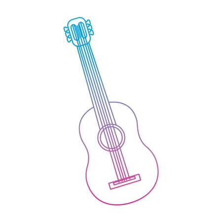 guitar acoustic icon image vector illustration design  blue purple ombre line Illustration