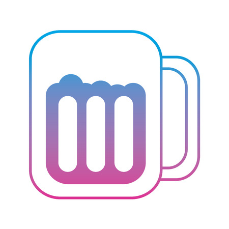 beer in glass icon image vector illustration design  blue purple ombre line 向量圖像