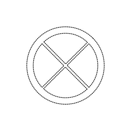 Linea punteggiata del nero di progettazione dell'illustrazione di vettore di immagine dell'icona dell'icona del cuneo di calce Archivio Fotografico - 90344612
