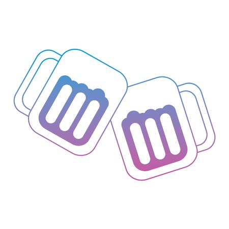 メガネ トースト アイコン画像ベクトル イラスト デザイン ブルー紫オンブル線でビール