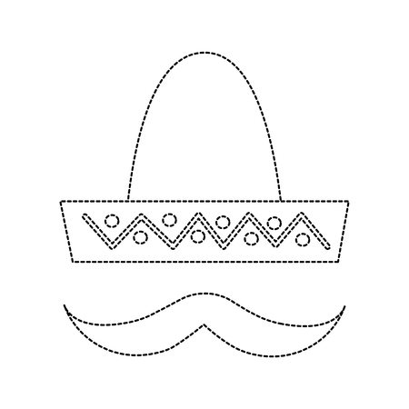 sombrero hat with mustache mexico culture icon image vector illustration design  black dotted line 向量圖像