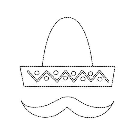 sombrero hat with mustache mexico culture icon image vector illustration design  black dotted line Illustration