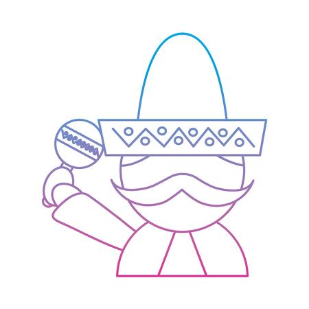 man with sombrero holding maraca mexico culture icon image vector illustration design  blue purple ombre line