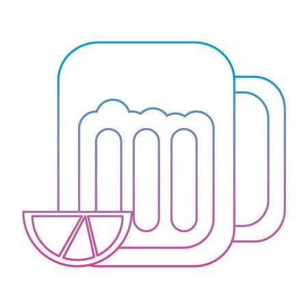 石灰くさびアイコン画像ベクトル イラスト デザイン ブルー紫オンブル線とガラスのビール