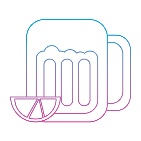 beer in glass with lime wedge icon image vector illustration design  blue purple ombre line
