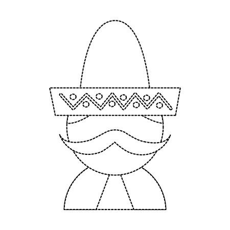 man with sombrero mexico culture icon image vector illustration design  black dotted line Illustration