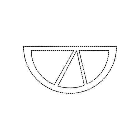 라임이나 레몬 웨지 아이콘 이미지 벡터 일러스트 레이 션 디자인 검은 점선
