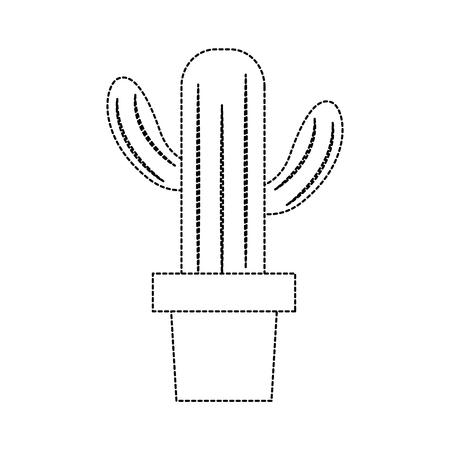 cactus in pot icon image vector illustration design  black dotted line Illustration
