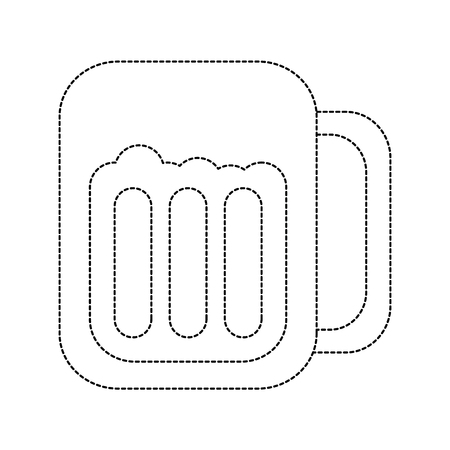 beer in glass icon image vector illustration design  black dotted line Ilustração
