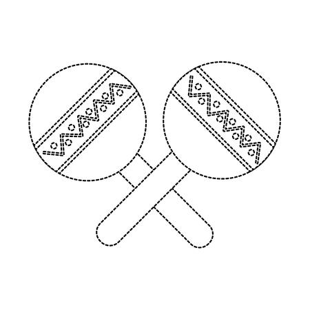 maracas musical instrument icon image vector illustration design black dotted line Illustration