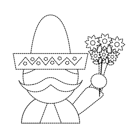 man with sombrero holding flowers mexico culture icon image vector illustration design  black dotted line